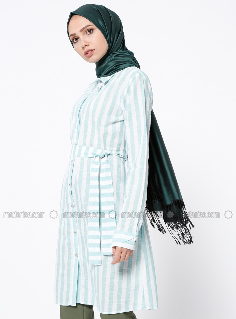 Green - Stripe - Point Collar - Cotton - Tunic