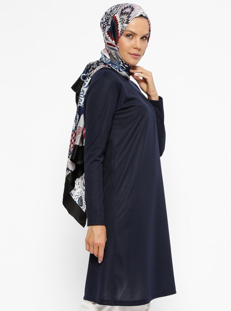 Tesettür Tunik Miss Cazibe Lacivert Kadın 40
