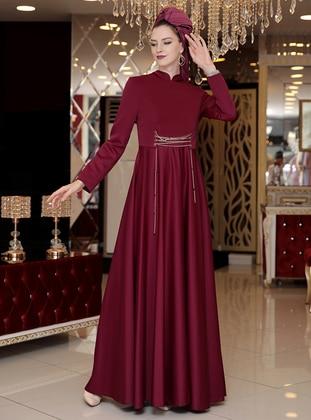 4e7f73665ecc Plum - Fully Lined - Crew neck - Muslim Evening Dress. Selma Sarı Design