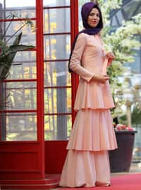 Katlı Elbise - Pudra - Nurkombin