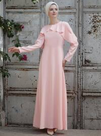 Omuz Fırfır Detaylı Elbise - Pudra - Selma Sarı Design