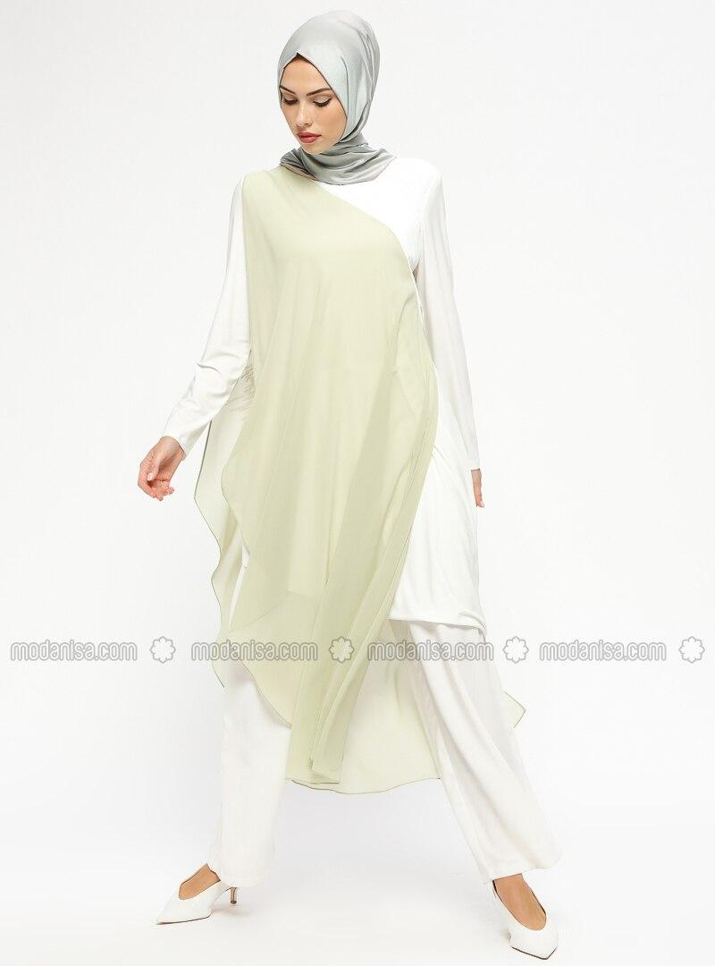 Green - White - Ecru - Crew neck - Tunic