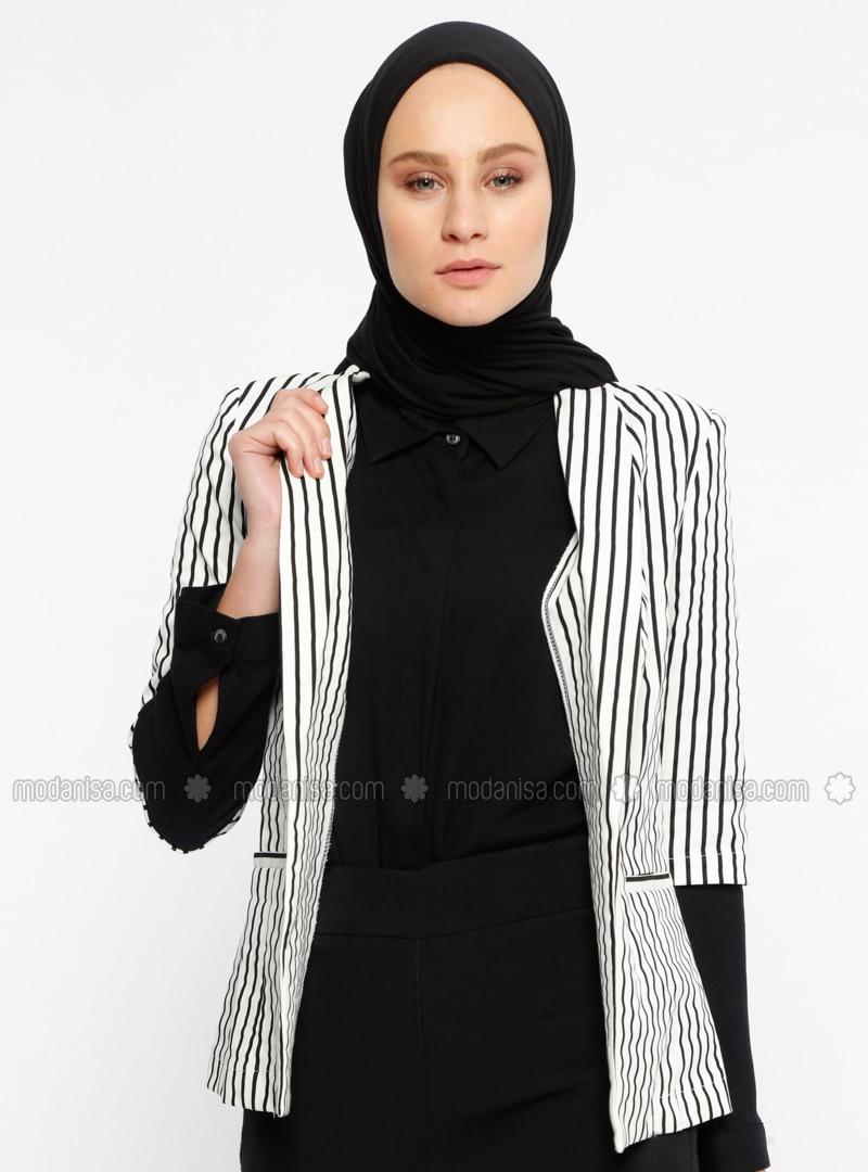 Black - Stripe - Unlined - Shawl Collar - Jacket