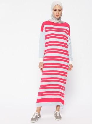 Blue - Ecru - Fuchsia - Stripe - Crew neck - Unlined - Dresses