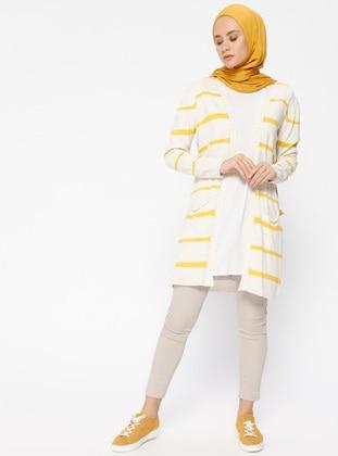 Beige - Mustard - Stripe - Cardigan