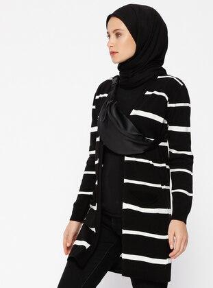 Black - Ecru - Stripe - Cardigan