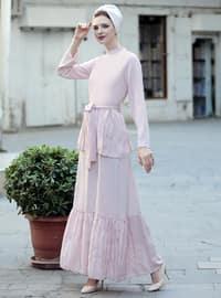 Vintage Elbise - Pudra - Selma Sarı Design