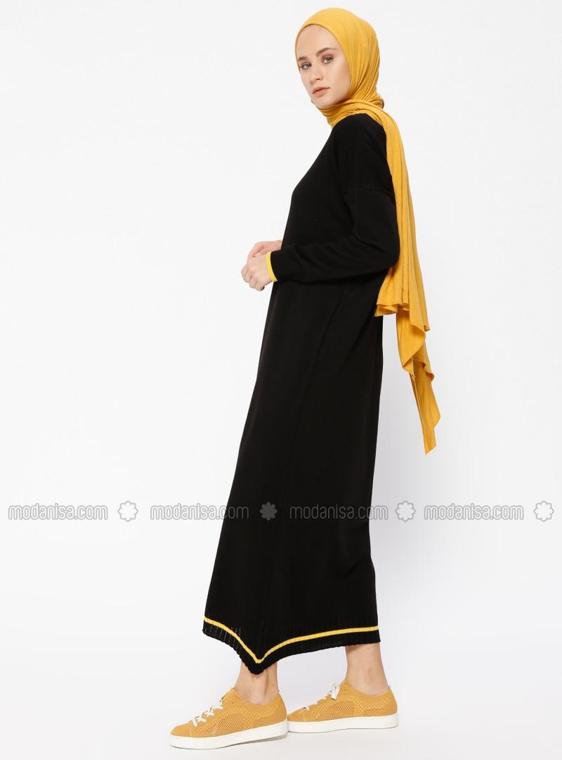 Schwarz Senfgelb Kleid Rundhalsausschnitt Innenfutter Ohne Hijab F3TlKuJ1c