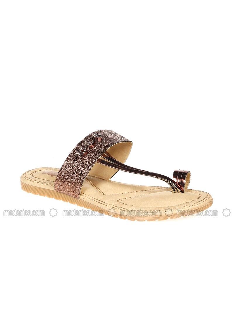 Camel - Silver tone - Sandal - Slippers