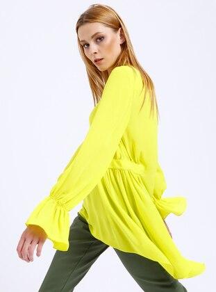Asimetrik Kesim Bluz - Asit Sarısı - Fashion Light Ürün Resmi