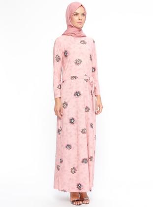 Pink - Multi - Crew neck - Unlined - Dresses