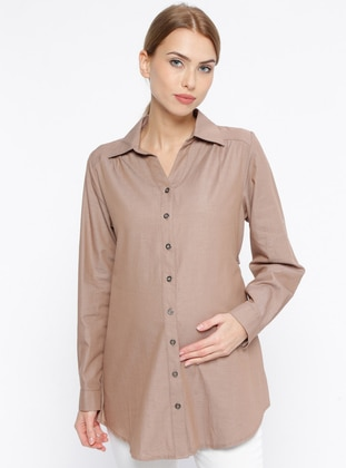 Beige – Point Collar – V Neck Collar – Cotton – Maternity Tunic – Carina