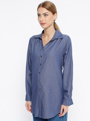 Navy Blue - Point Collar - V neck Collar - Cotton - Maternity Tunic