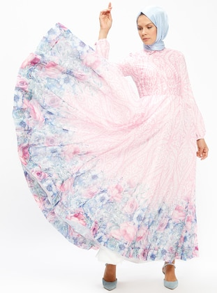 Pink - Multi - Fully Lined - Point Collar - Muslim Evening Dress