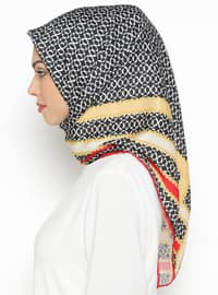 Red - Gold - Printed - Twill - Scarf