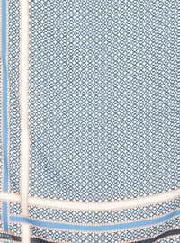 Blue - Cream - Printed - Twill - Scarf