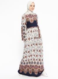 Desenli Elbise - Gri Lacivert - Dadali