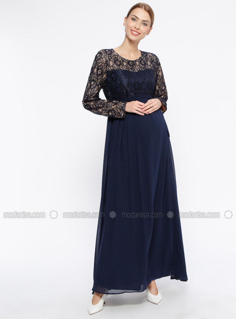 Navy Blue - Fully Lined - Crew neck - Maternity Evening Dress