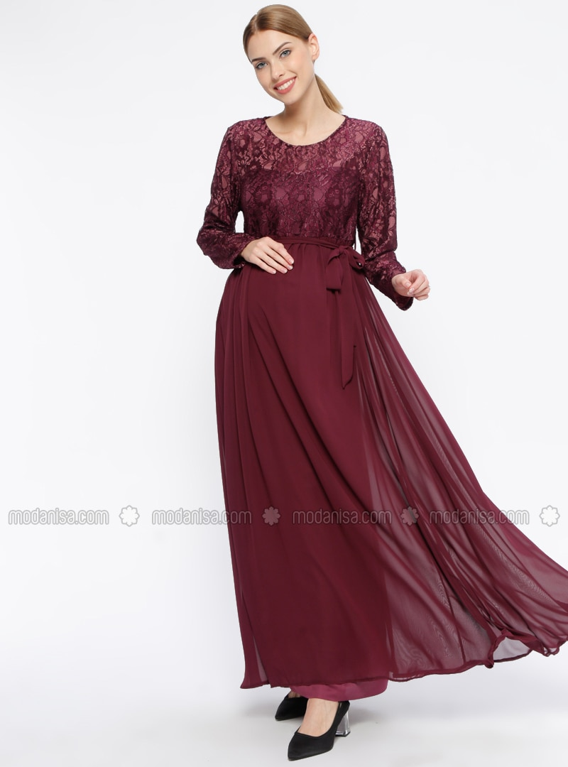 Plum - Fully Lined - Crew neck - Maternity Evening Dress