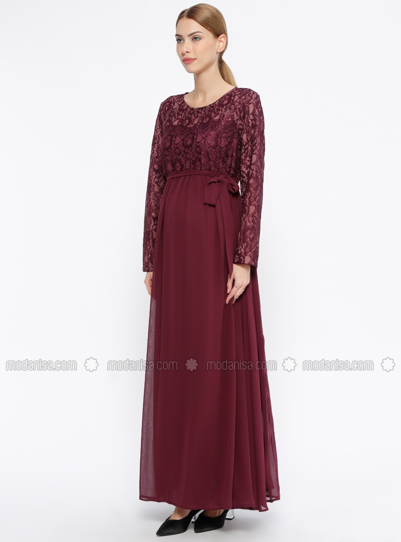Plum - Fully Lined - Crew neck - Maternity Evening Dress