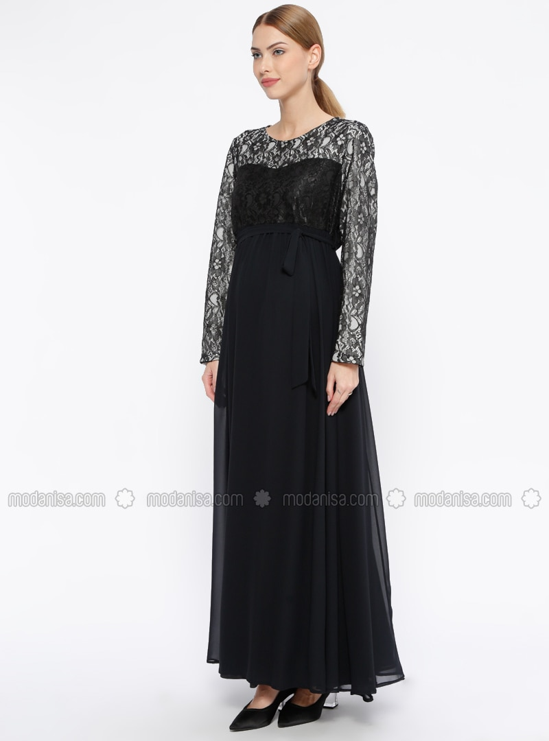 Black - Fully Lined - Crew neck - Maternity Evening Dress
