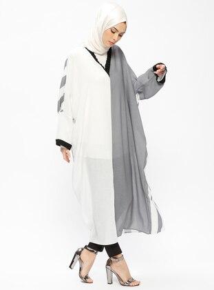 Gray - Ecru - Stripe - V neck Collar - Unlined - Dresses