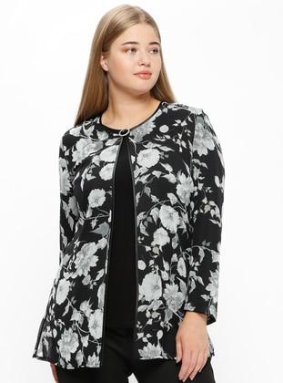 Black - Floral - Crew neck - Unlined - Plus Size Evening Suit