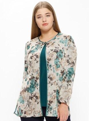 Green - Floral - Crew neck - Unlined - Plus Size Evening Suit