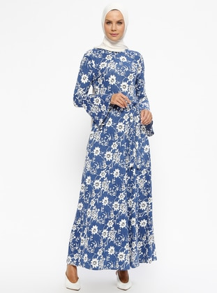 Blue - White - Polka Dot - Crew neck - Unlined - Dresses