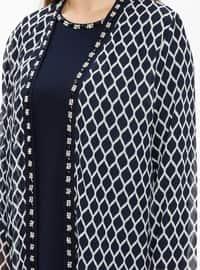 Navy Blue - Multi - Crew neck - Unlined - Plus Size Evening Suit