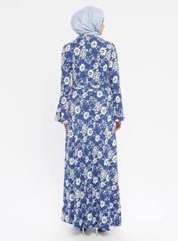 Blue - White - Polka Dot - Crew neck - Unlined - Dresses