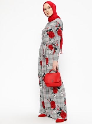 Red - Multi - Point Collar - Unlined - Cotton - Dresses