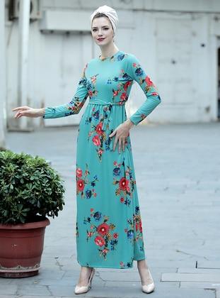 Mint - Floral - Crew neck - Unlined - Dresses