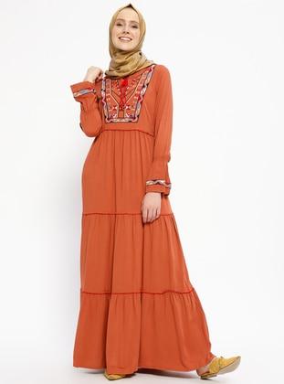 Terra Cotta - V neck Collar - Unlined - Cotton - Dresses