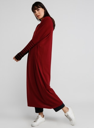 Maroon - Stripe - Crew neck -  - Tunic