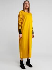 Yellow - Stripe - Crew neck - Tunic