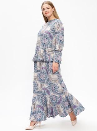Blue – Pink – Multi – Unlined – Crew Neck – Plus Size Dress – Melisita