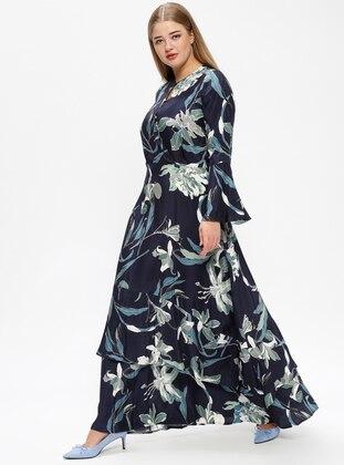 Green – Navy Blue – Multi – Unlined – Crew Neck – Plus Size Dress – Melisita