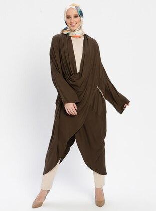 Khaki - Stripe - Shawl Collar - Tunic
