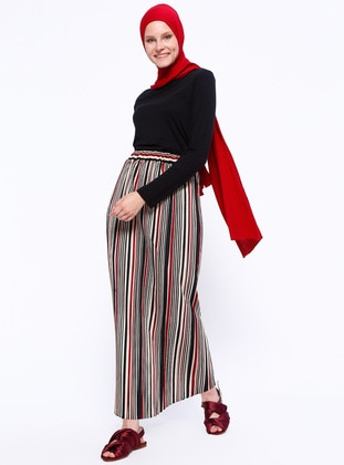Maroon - Stripe - Unlined - Skirt