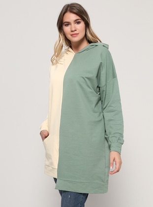 Beige – Khaki – Cotton – Plus Size Tunic – Alia