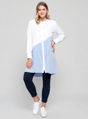 Nervür Detaylı Tunik - Beyaz Mavi - Alia Ürün Resmi