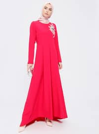 Red - Unlined - Crew neck - Muslim Evening Dress