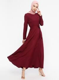 Kuşaklı Elbise - Mürdüm - Jamila