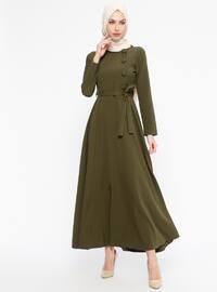 Kuşaklı Elbise - Haki - Jamila