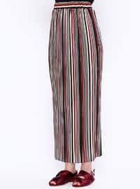 Maroon - Stripe - Unlined - Skirt