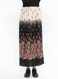 Red - Black - Multi - Unlined - Skirt