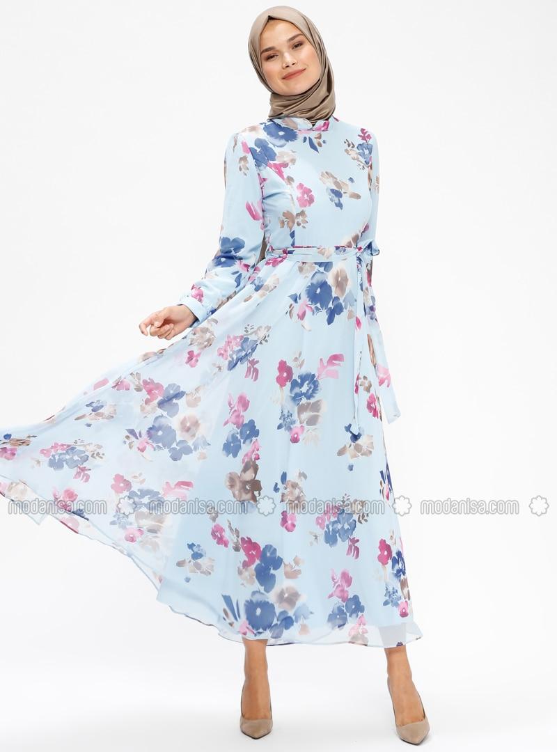 Blumenmuster Hijab Rosa Mit Innenfutter Kleid Stehkragen Blau thrdCQs