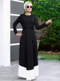 Siyah - Beyaz - Yuvarlak yakalı - Astarsız kumaş - Elbise