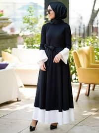 Volan Detaylı Elbise - Siyah - İnşirah